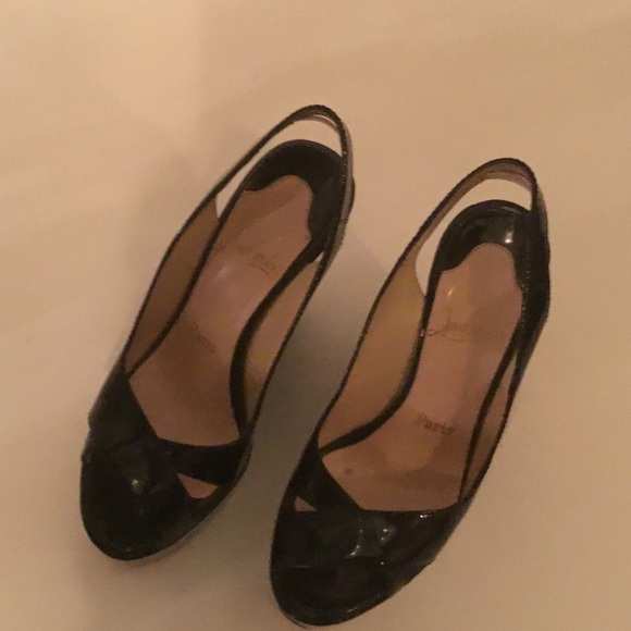 7638741cceb Pre Owned 'LOUBOUTIN' BLACK PATENT WEDGES